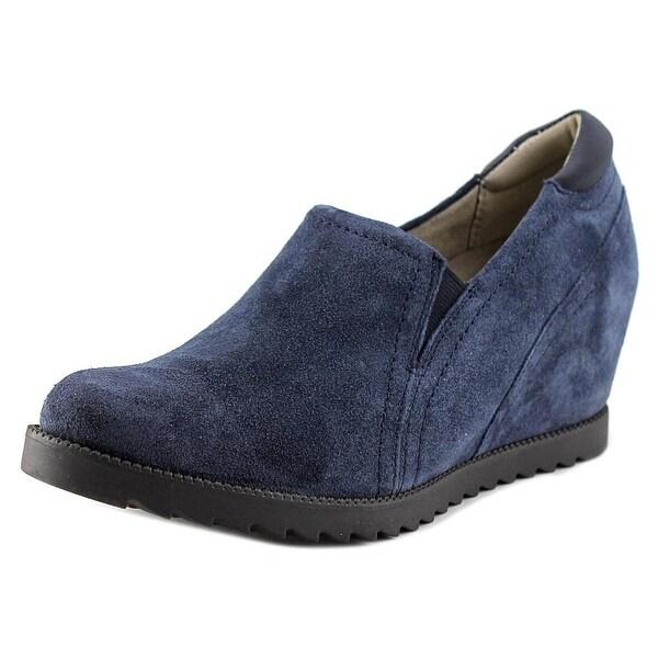 Naturalizer Dorean Women W Open Toe Suede Blue Wedge Heel
