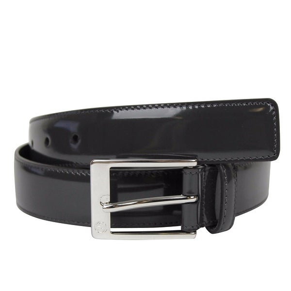 94b5ed7fc Gucci Men's Square Dark Gray Patent Leather Belt with GG Detail Buckle