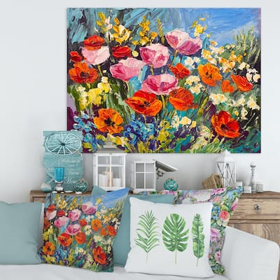 Designart 'Colorful Spring Wildflowers' Traditional Canvas Wall Art Print