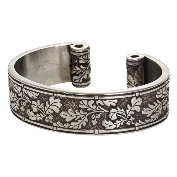 Floriana Women X27 S Oak Leaves And Acorns Pewter Cuff Bracelet