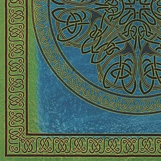 Handmade 100% Cotton Celtic Circle Wheel Of Life Batik Tapestry Spread Twin Blue Green