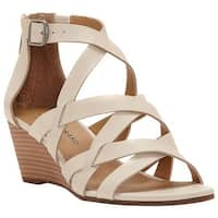 Lucky Brand Women's Jewelia Strappy Wedge Sandal Sandshell Leather