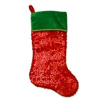 """20"""" Shiny Red Holographic Sequined Christmas Stocking with Velveteen Cuff"""