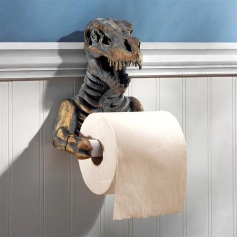 Design Toscano T. Rex Dinosaur Skeleton Bathroom Toilet Paper Holder