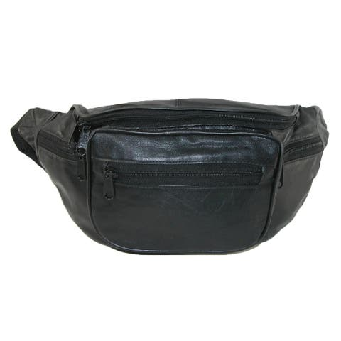 CTM® Leather Multi Pocket Waist Pack - one size
