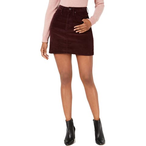 Calvin Klein Jeans Womens A-Line Skirt Corduroy Solid