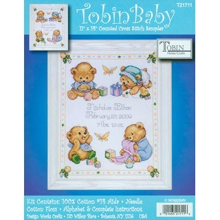 """Baby Bears Birth Record Counted Cross Stitch Kit-11""""X14"""" 14 Count"""