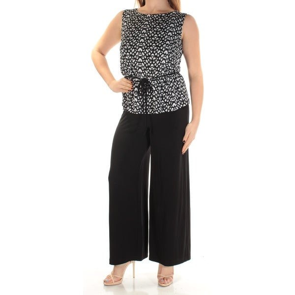CONNECTED $79 Womens 1283 Black Peplum Wide Leg Formal Jumpsuit Petites 8 B+B