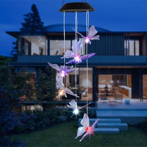 Solar Intelligent Corridor Decoration Pendant Colorful Light Light Control Wind Chime Ball/Heart/Butterfly