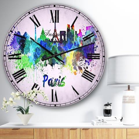 Designart 'Paris Skyline' Cityscape Wall CLock