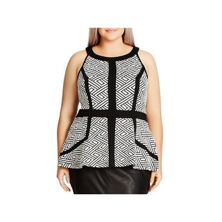 City Chic Womens Plus Peplum Top Mixed Media Printed