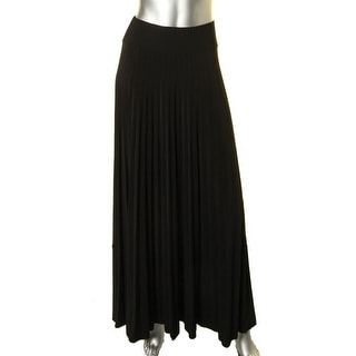 Onyx Nite Womens Maxi Skirt Matte Jersey Pleated - L