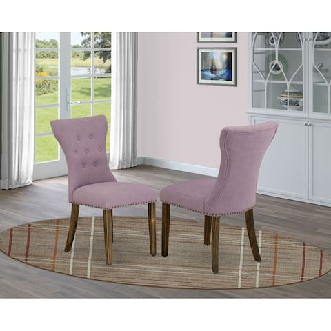 East West Furniture Parson Chair - Linen Fabric Button tufted dining room chairs Set of Two