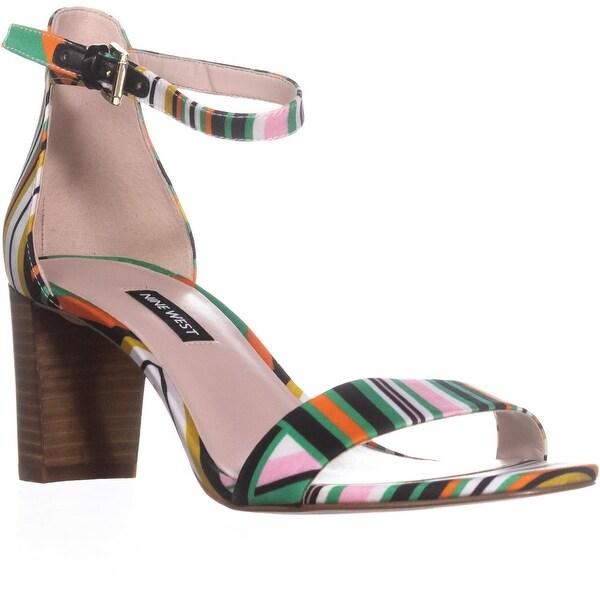 Nine West Pruce Ankle Strap Sandals, White Stripe Multi - 9 us