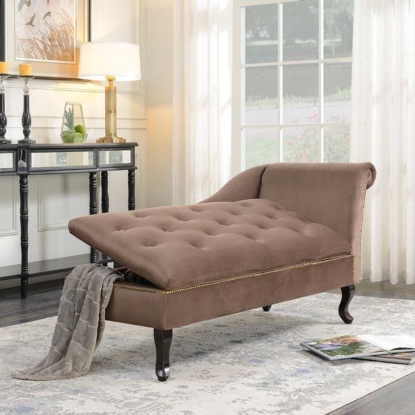 Belleze Velve Tufted Open Fold Spa Chaise Lounge Chair Couch For Living Room Gold Nailhead Trim With Storage