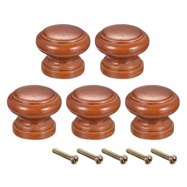 Round Pull Knob Handle 30mm Dia Cabinet Furniture Bedroom Kitchen Drawer 5pcs - 30mmx24mm(D*H)-5pcs