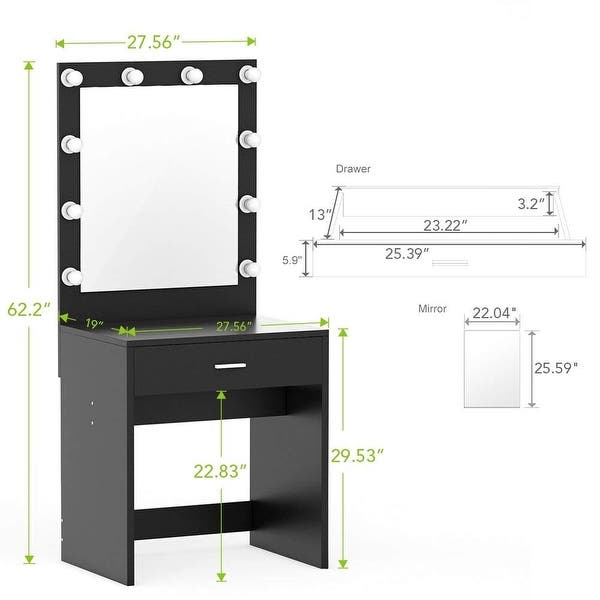 Shop Makeup Vanity with Lighted Mirror, Dressing Table ...