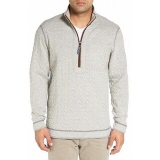 Tommy Bahama NEW Gray Mens Large L Reversible Quilted 1/2 Zip Sweater
