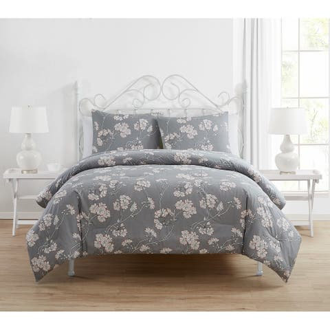 Tahari Home Gable Grey Floral Comforter Set