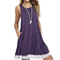 Sleeveless Lace Trim Dress