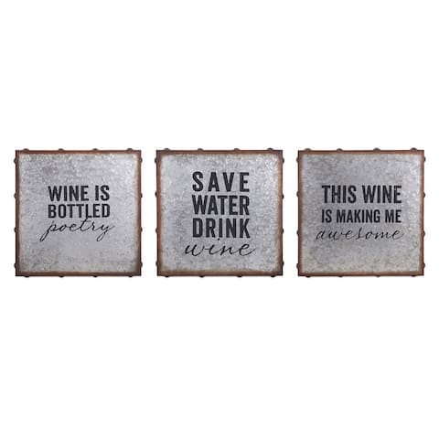 IMAX Home A0389145 Maxwell Three Panel Frameless Text Graphic Set on MDF - Silver