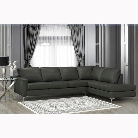 Malibu Premium Top Grain Italian Leather Sectional Sofa - 122.5 x 85 x 36.5 x 35