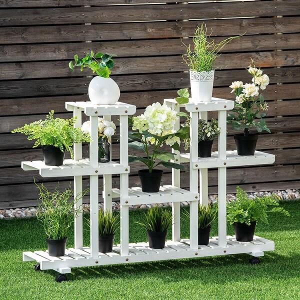 shop costway 4 tier rolling flower rack wood plant stand casters 12 pots bonsai display shelf. Black Bedroom Furniture Sets. Home Design Ideas