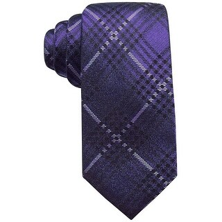 Ryan Seacrest Purple Studio Plaid Men's Neck Tie Silk Accessory