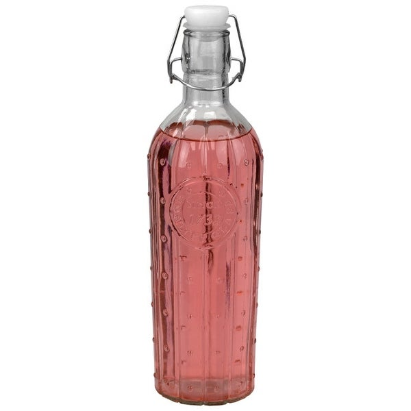Air-Tight 1 LT Flip Top Decorative Glass Bottle, Clear. Opens flyout.
