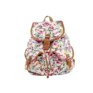 Hearty Trendy Girls White Pink Rose Print Flap Pockets Cotton Canvas Backpack