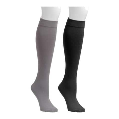 MUK LUKS Women's Fleece Lined 2-Pair Pack Knee High Socks Black/Dark Grey