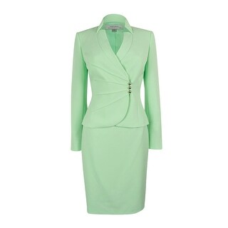 Tahari ASL Women's Crepe Crossover Jacket Skirt Suit