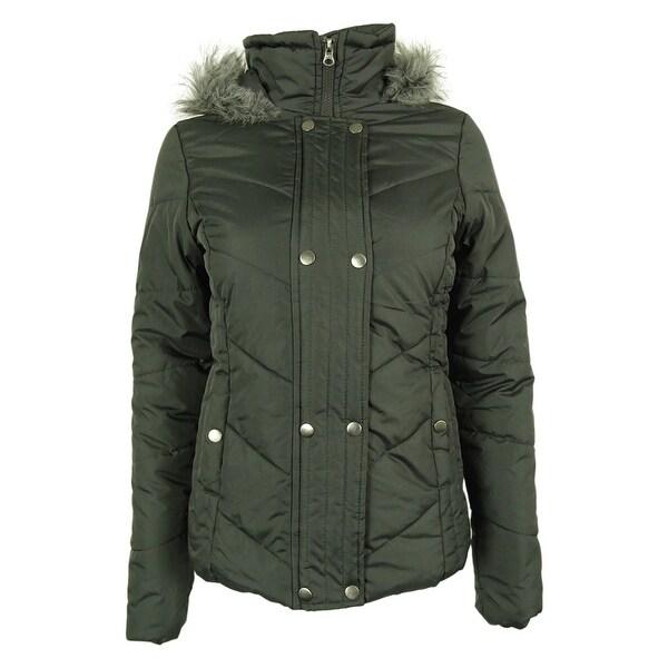 Krush Juniors Size Faux-Fur Trim Quilted Puffer Coat