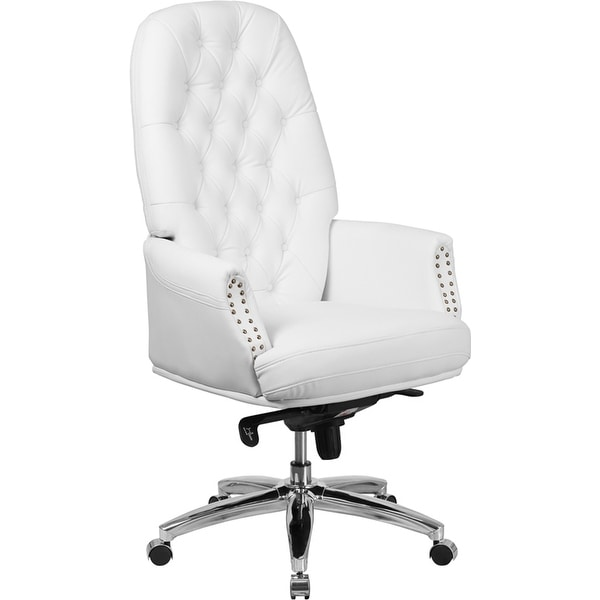 Silkeborg High-Back Tufted White Leather Executive Swivel Chair w/Arms
