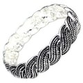 "Antique Silver Plated Braided Wheat Brass Bangle - Inside Circumference: 6"" - Thumbnail 0"