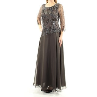 JKARA $269 Womens New 1282 Gray Beaded Sequined 3/4 Sleeve Dress 8 B+B