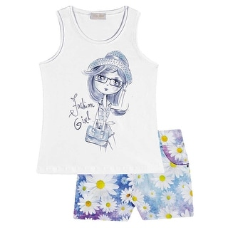Girl Outfit Graphic Tank Top and Print Shorts 2-piece Set 2-10 Years Pulla Bulla