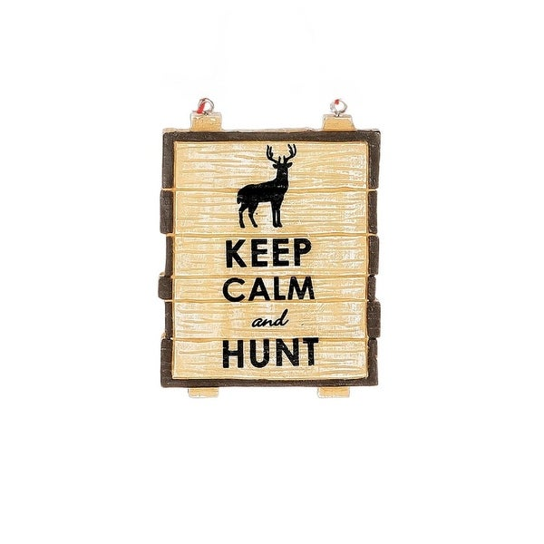 "3"" Faux Wood ""Keep Calm and Hunt"" Decorative Christmas Ornament - brown"