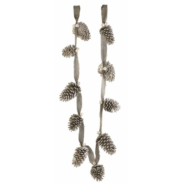 6' Silent Luxury Vintage Pine Cone, Pearl and Burlap Artificial Christmas Garland - Unlit - green