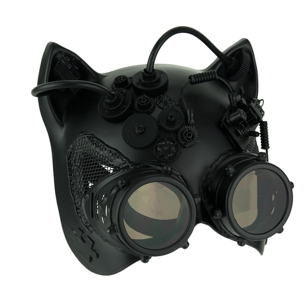 Black Robot Kitty Ste&unk Cat Face Costume Mask  sc 1 st  Overstock.com & Shop Black Robot Kitty Steampunk Cat Face Costume Mask - On Sale ...