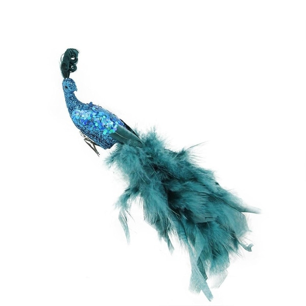 "11"" Regal Peacock Clip On Teal Blue with Feather Tail Christmas Ornament"