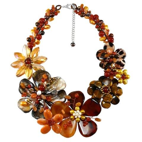 Handmade Autumn Beauty Flower Garden Orange Mixed Stone and Freshwater Pearl Bib Necklace (Thailand)