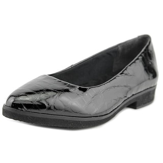 Walking Cradles Bounce Women Round Toe Leather Black Flats