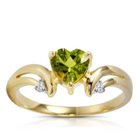 14k Solid Gold Green Peridot Gemstone Ring w/ Diamond Accents 1.26 tcw