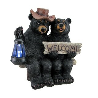 So Happy Together Black Bear Couple Solar Welcome Statue - 14 X 14 X 9 inches