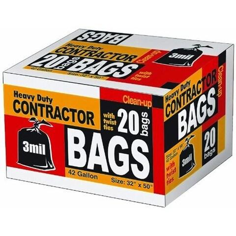Heavy Duty Contractor 42 Gallon Trash Bag With Twist Ties, Black, 32X50, 20 Bags