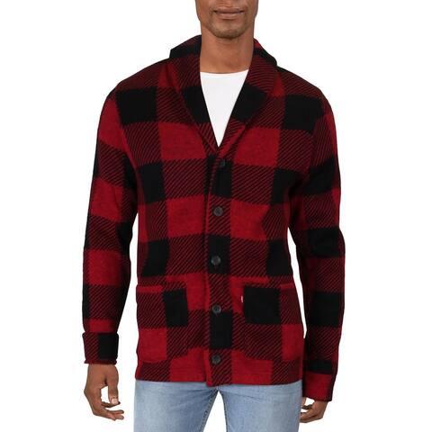 Levi's Mens Cardigan Sweater Plaid Button-Down - Crimson