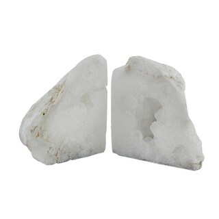 Natural White Geode Polished Quartz Crystal Bookends 4-7 Pounds