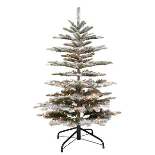 Puleo International 4.5 PreLit Flocked Fir Artificial Tree 250 Lights