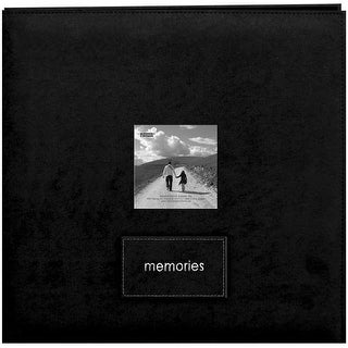 """Pioneer Embroidered Faxu Suede Post Bound Album 12""""X12""""-Black - Red"""